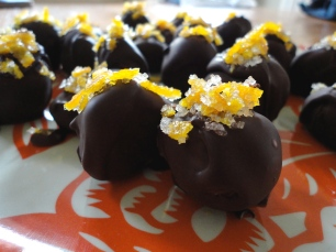 Chocolate and Earl Grey truffles with candied orange peel